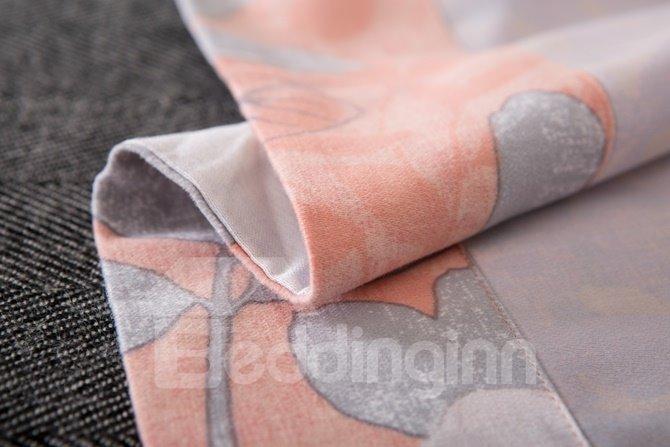 Graceful Magnolia Print Orange 4-Piece Cotton Duvet Cover Sets