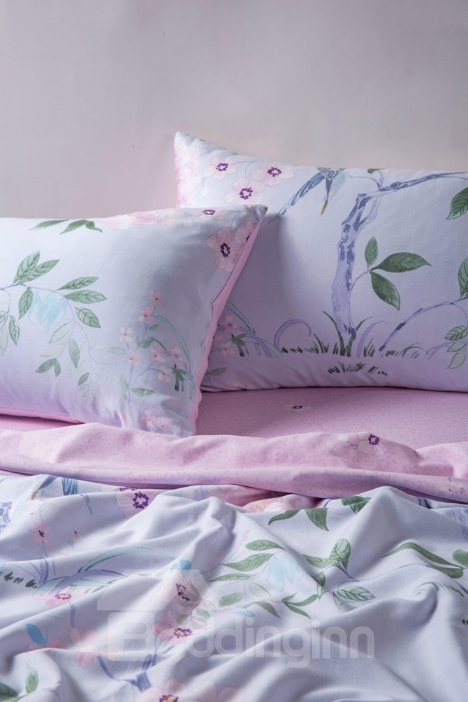 Idyllic Pink Peony and Bird Print 4-Piece Cotton Duvet Cover Sets