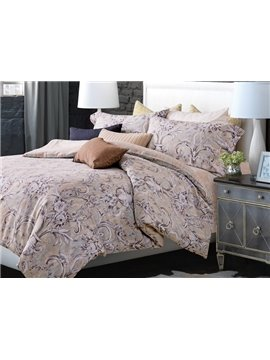 Lush Flower and Vase Print 4-Piece Cotton Duvet Cover Sets