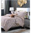 Lush Flower and Vase Print 4-Piece Cotton Duvet Cover Sets