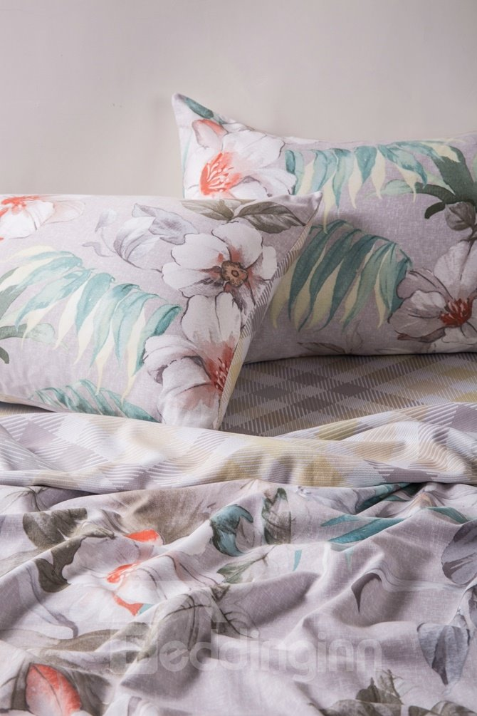 White Peony Print 4-Piece Cotton Duvet Cover Sets