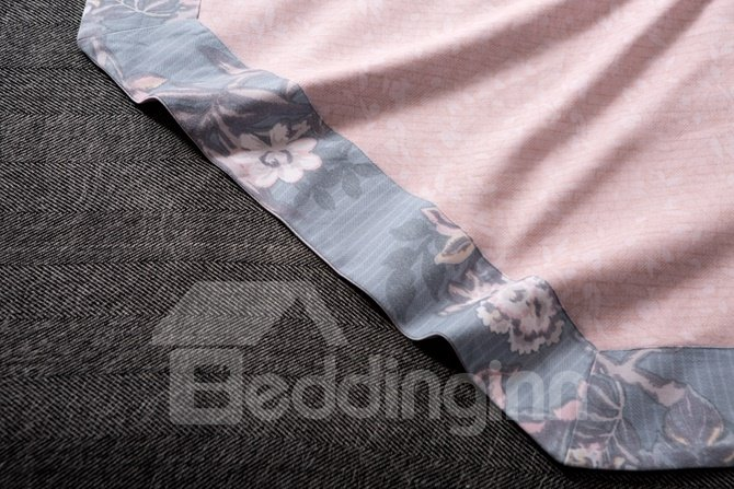 Elegant Peony Print Blue 4-Piece Cotton Duvet Cover Sets