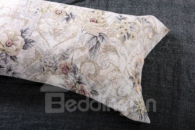 White Epiphyllum and Damask Print 4-Piece Cotton Duvet Cover Sets