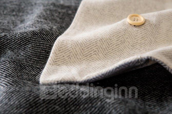 Soft and Warm Plaid Print 4-Piece Cotton Duvet Cover Sets