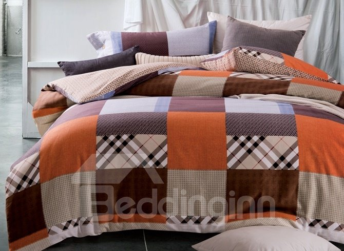 Modern Brown Plaid Print 4-Piece Cotton Duvet Cover Sets