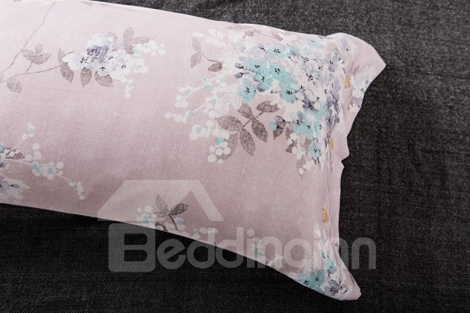 Popular White Floret Print Pink 4-Piece Cotton Duvet Cover Sets