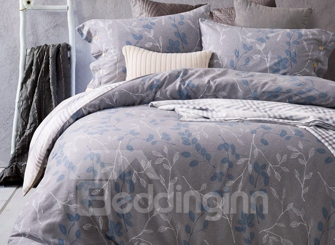 Delicate Leaves Reactive Printing 4-Piece Duvet Cover Sets