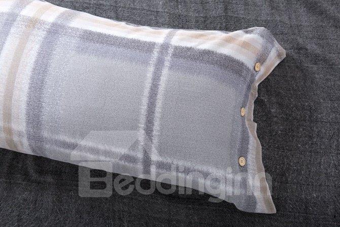 Classic Neutral Plaid Reactive Printing Grey 4-Piece Cotton Duvet Cover Sets