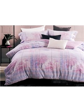 Dreamy Pink Tree Design Comfortable Cotton 4-Piece Duvet Cover Sets
