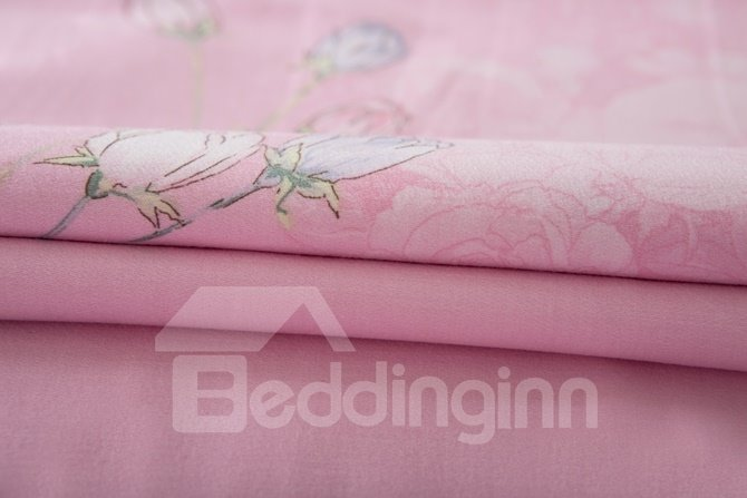 Romantic Floral Lavender 4-Piece Cotton Duvet Cover Sets