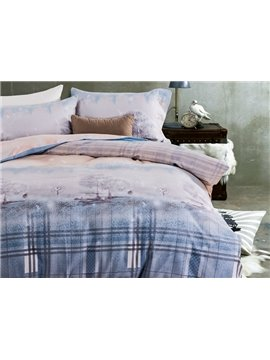 Dreamy Tree and Plaid Print 4-Piece Cotton Duvet Cover Sets