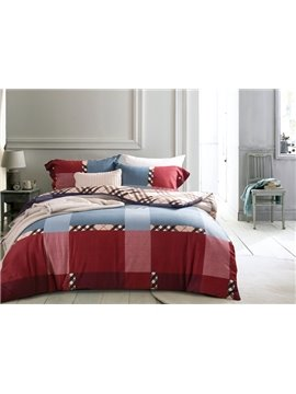Intelligent Design Neutral Plaid Print 4-Piece Cotton Duvet Cover Sets