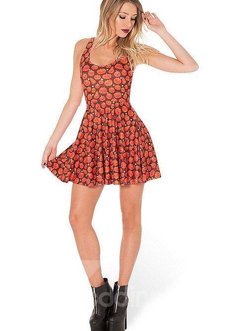 Fabulous A-line Round Neck Cartoon Pumpkin Pattern 3D Painted Dress