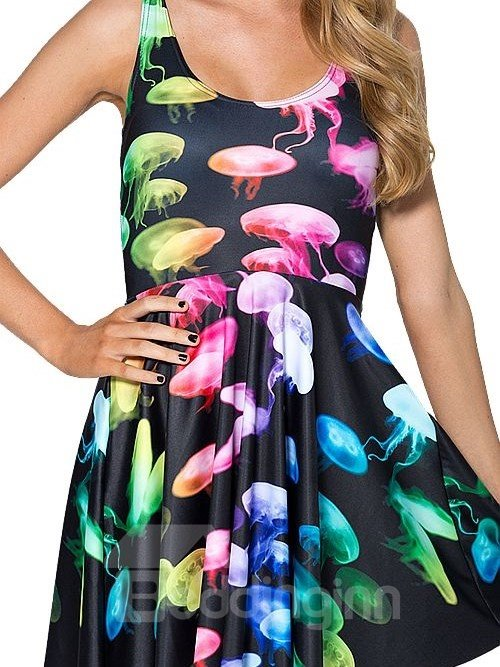 Glamorous A-line Round Neck Multicolor Jellyfish Pattern Black Background 3D Painted Dress