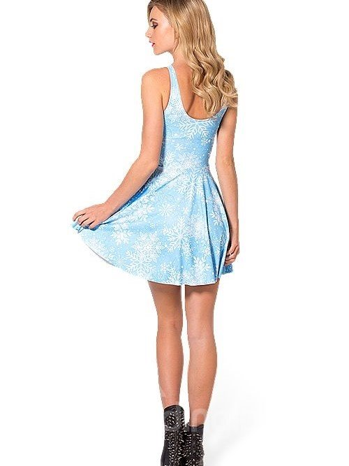 Stunning A-line Round Neck Snowflake Pattern Sky Blue Background 3D Painted Dress