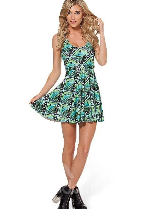 Modest A-line Round Neck Novetly Pattern 3D Painted Dress
