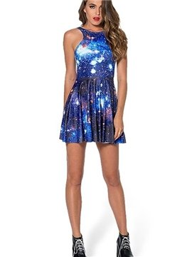 Bright A-line Round Neck Starry Sky Pattern 3D Painted Dress