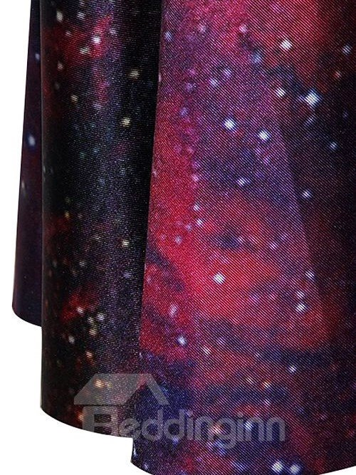 Charming A-line Round Neck Galaxy Pattern 3D Painted Dress