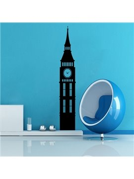 Black and White Big Ben Pattern Removable Wall Stickers