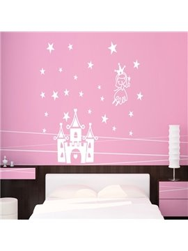 Cute White and Black Castle and Star Pattern Wall Stickers