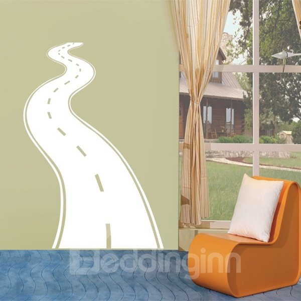 Black and White Zigzag Road Pattern Removable Wall Stickers