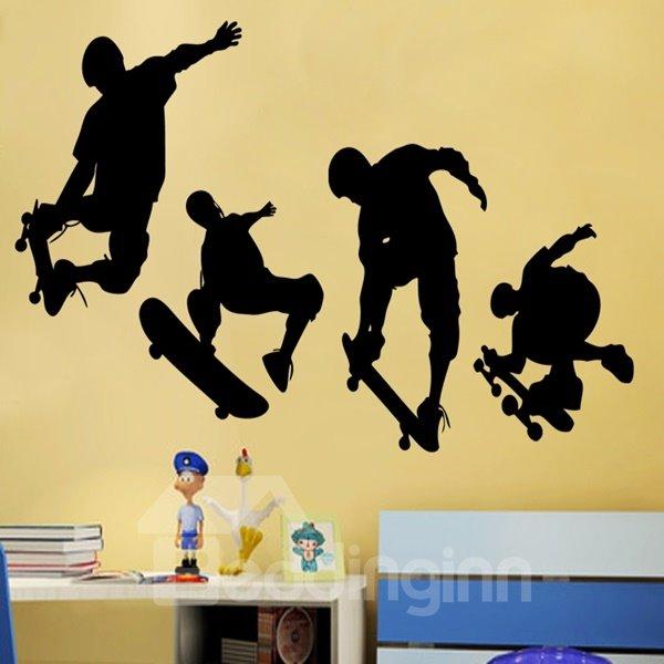 Wonderful White and Black 4 Skateboard Boys Pattern Wall Stickers