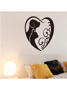 Heart Shaped Two Cute Little Dogs Pattern Wall Stickers