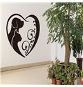 Heart Shaped Two Cute Little Dogs Pattern Wall Stickers