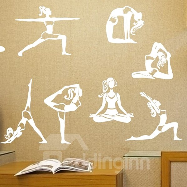 Different Yoga Movement Pattern Removable Wall Stickers