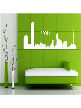 Black and White City Building Pattern Removable Wall Stickers