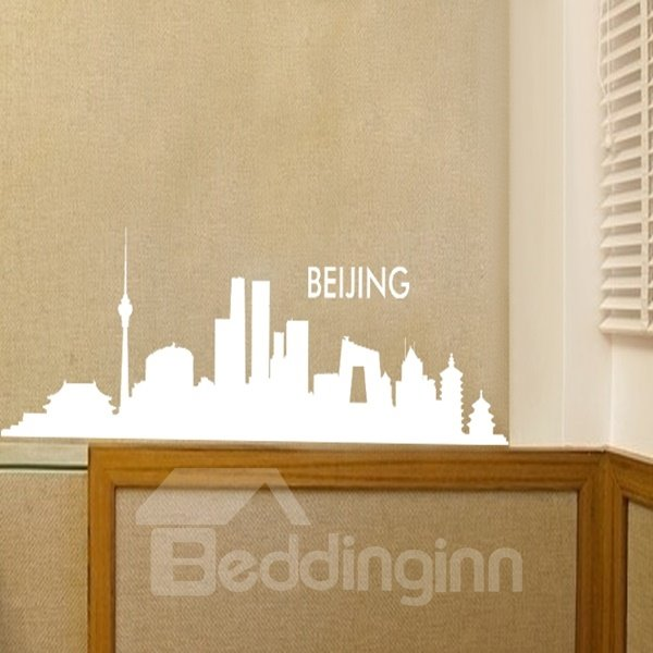 Black and White Beijing City Scenery Removable Wall Stickers