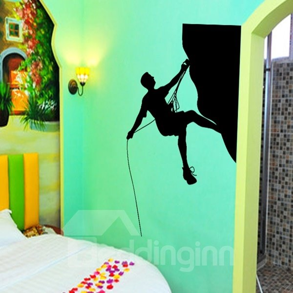 White and Black Climbing Man Pattern Removable Wall Stickers