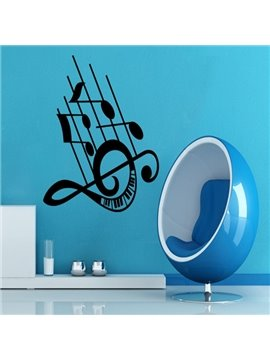 Elegant Music Note and Stave Pattern Removable Wall Stickers