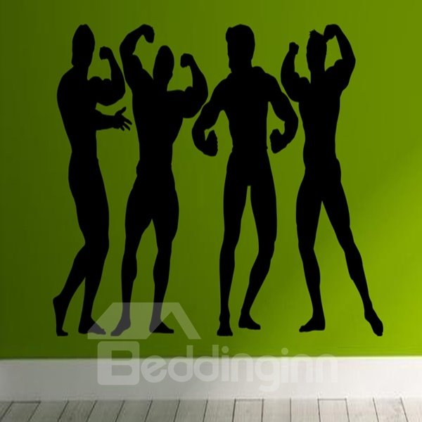Amusing 4 Muscle Men Pattern Removable Wall Stickers