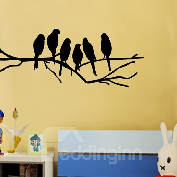 White and Black Bird Standing on the Tree Pattern Wall Stickers