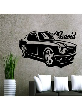 Decorative Black Car and David Letter Wall Stickers
