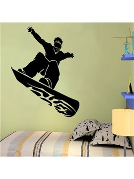 Black Skateboard Man Pattern Removable Wall Stickers