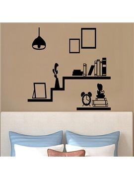 Black Simple Book Shelf and Photo Frame Shape Wall Stickers