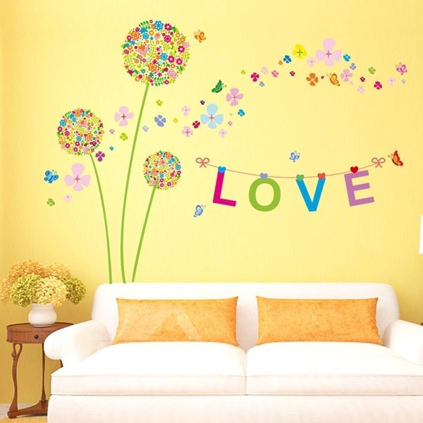 Romantic Colorful Dandelion and Butterfly Love Letter Wall Sticker