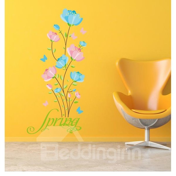 Pink and Blue Flower and Butterfly Pattern Wall Stickers
