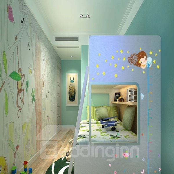 Cartoon Pouring Water and Cloud Pattern Height Measurement Wall Stickers