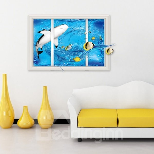 Blue Dolphin and Fish Pattern Window Sea Scenery Wall Stickers