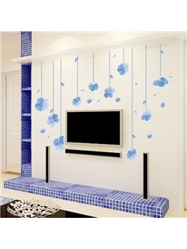 Blue Little Flower Pattern Living Room Decorative Wall Stickers