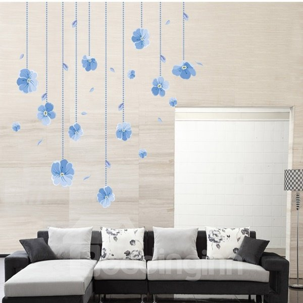 Blue Little Flower Pattern Living Room Decorative Wall Stickers