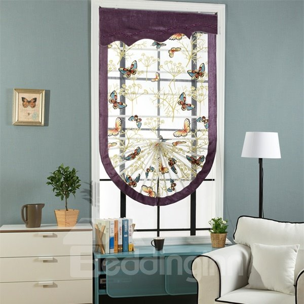 Designer Butterflies Print Organza Translucent Roman Shades with Purple Valance and Border