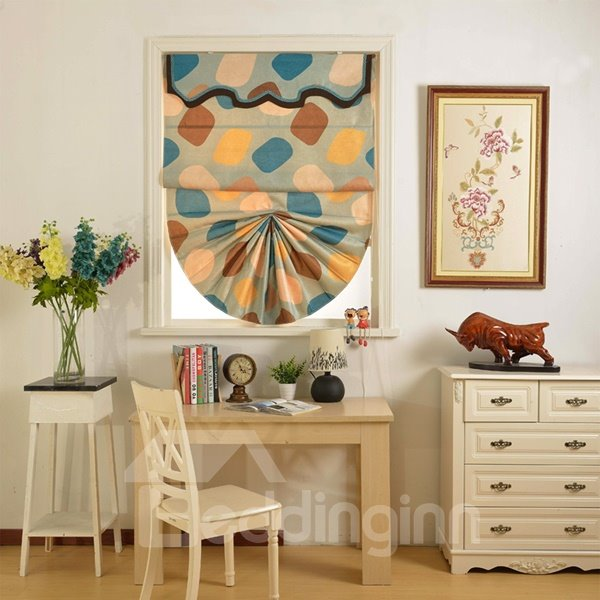 Modern Designer Color Block Printing Roman Shades with Valance