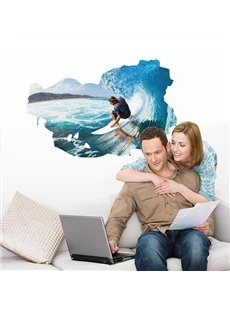 Modern Fashion Surfing in the Sea Removable Wall Stickers