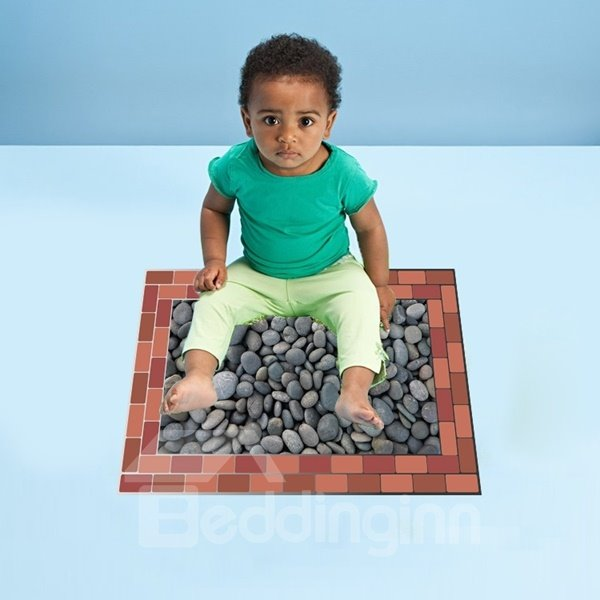Gray Pebble Pattern Floor Decoration Removable Wall Stickers