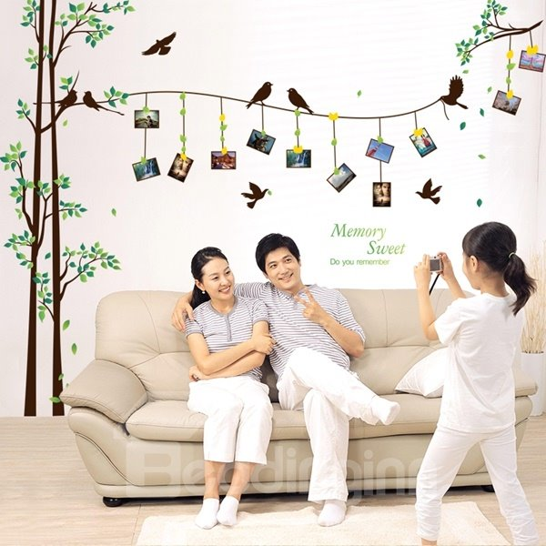 Natural Trees and Birds Photo Frame Pattern Wall Stickers