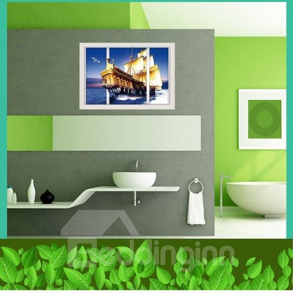 Unique Design Sailing Boat 3D Window Scenery Wall Stickers